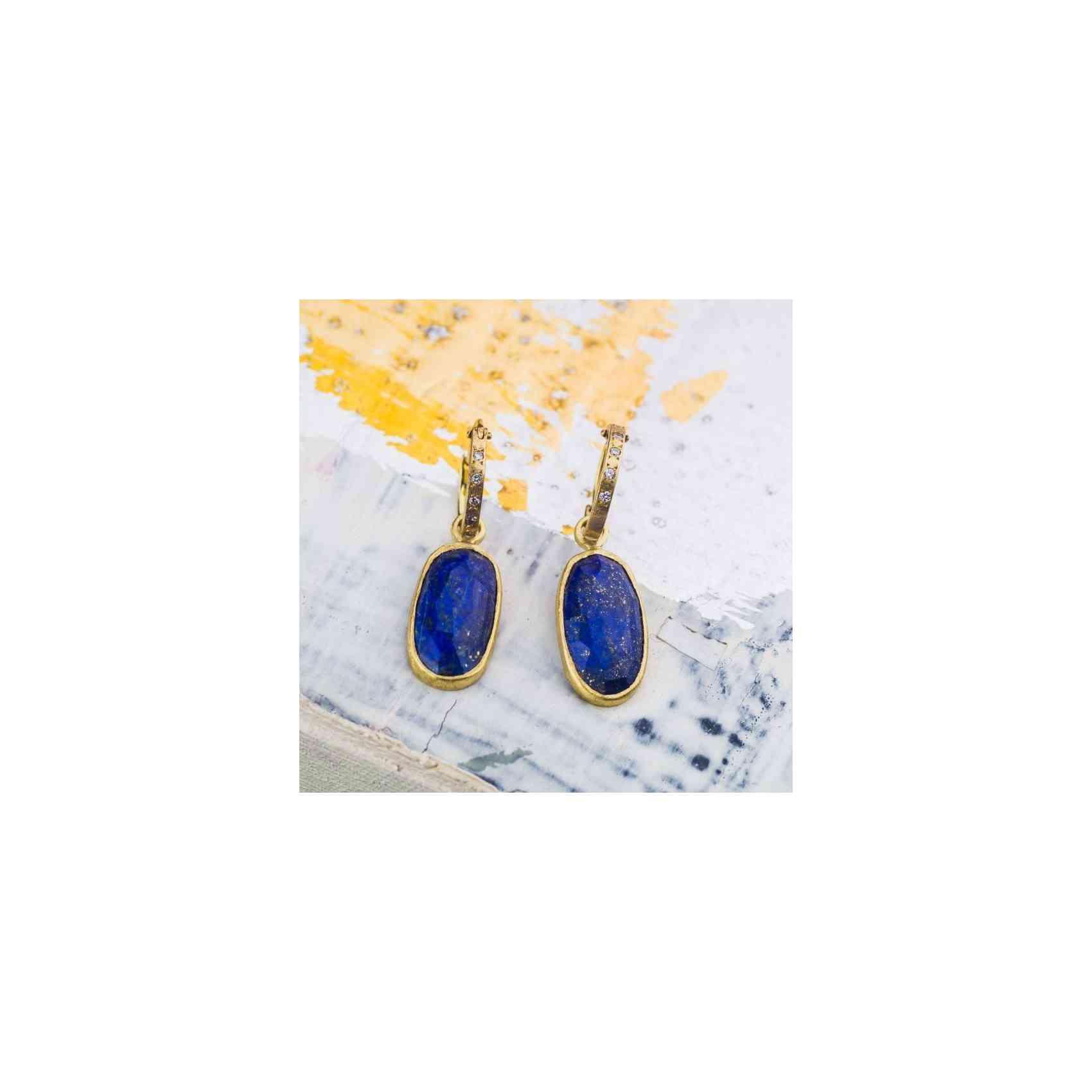 Cercei Aur 18K cu Lapis Lazuli și Diamante
