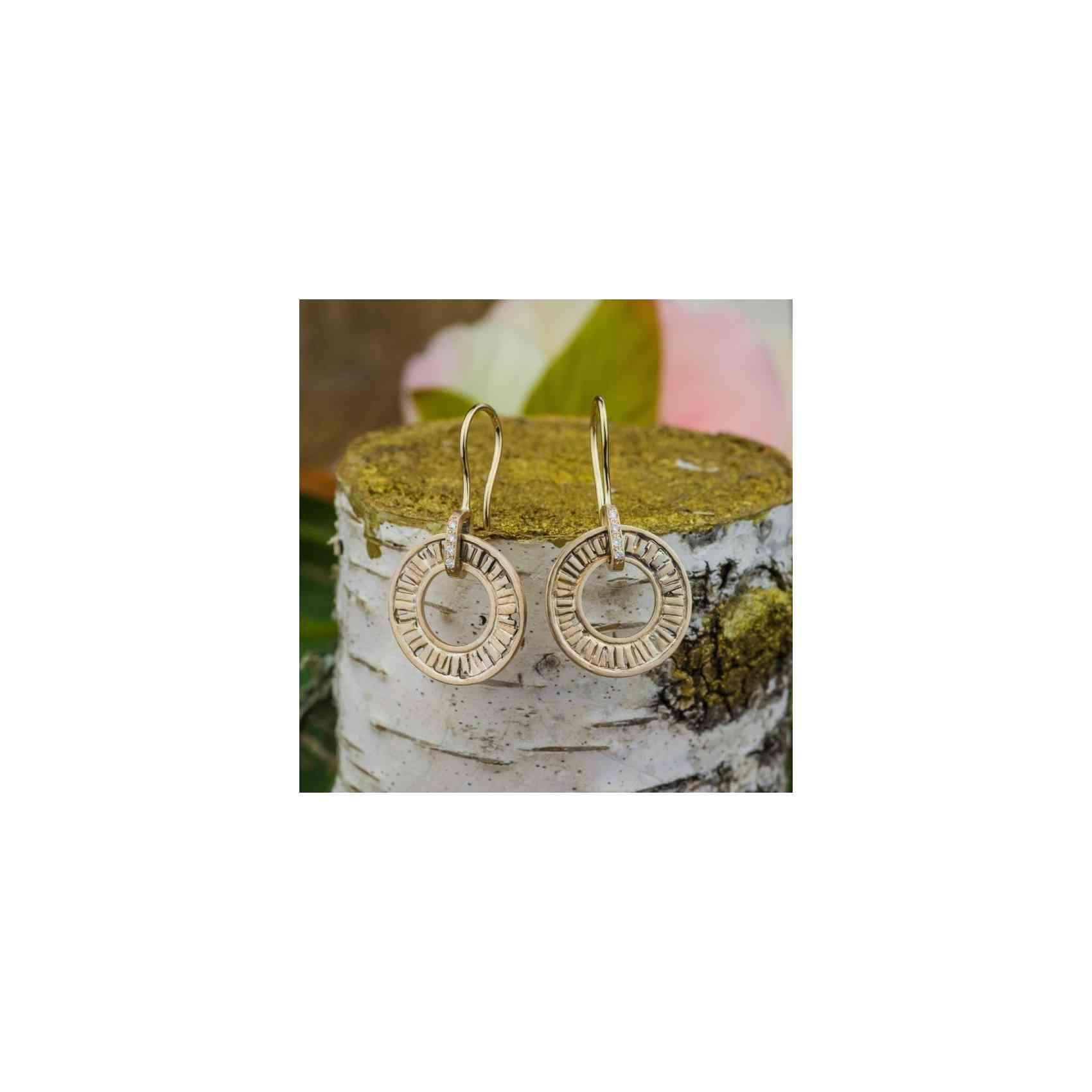 Cercei din Aur Roz și Alb de 14k cu Diamante