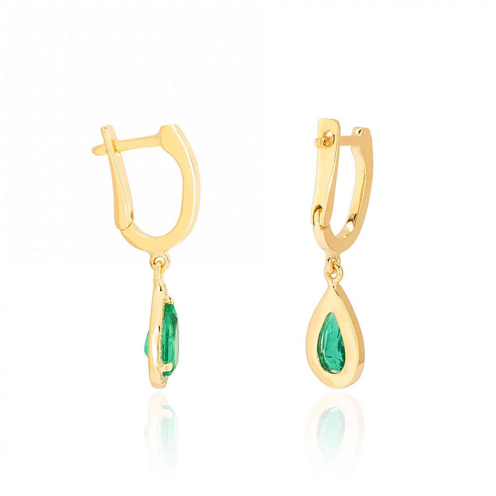 Cercei din Aur Galben de 18K cu Smarald si Diamante