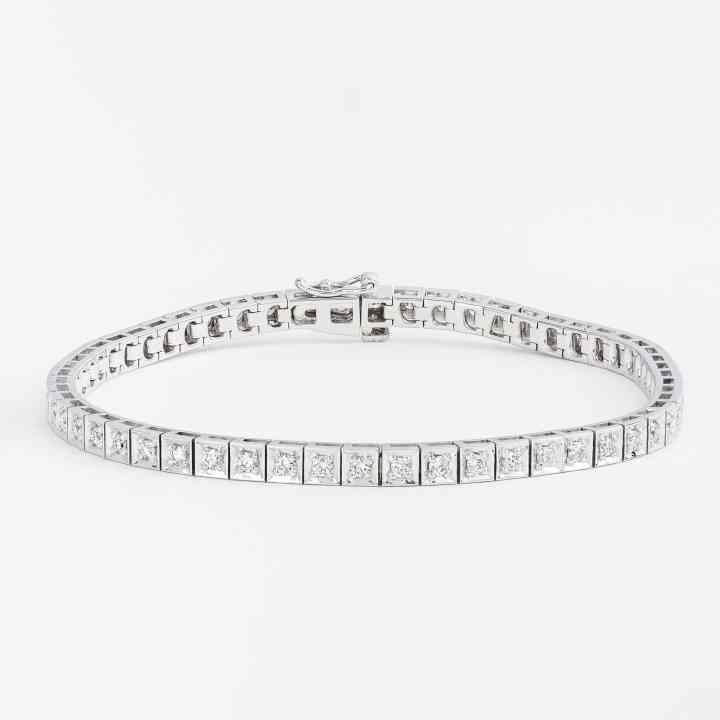 Bratara din Aur Alb de 14K cu Diamante