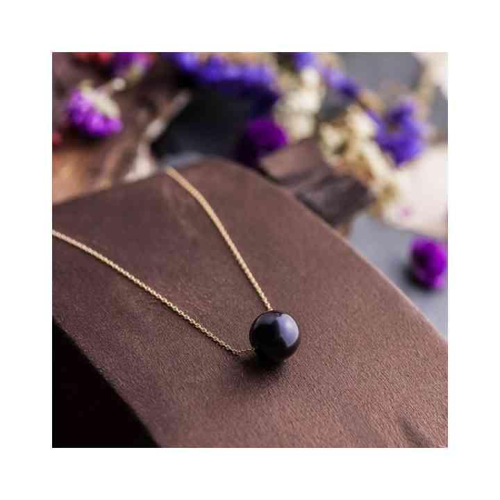 Colier din Aur Galben 14K cu Perlă de Cultură Neagră