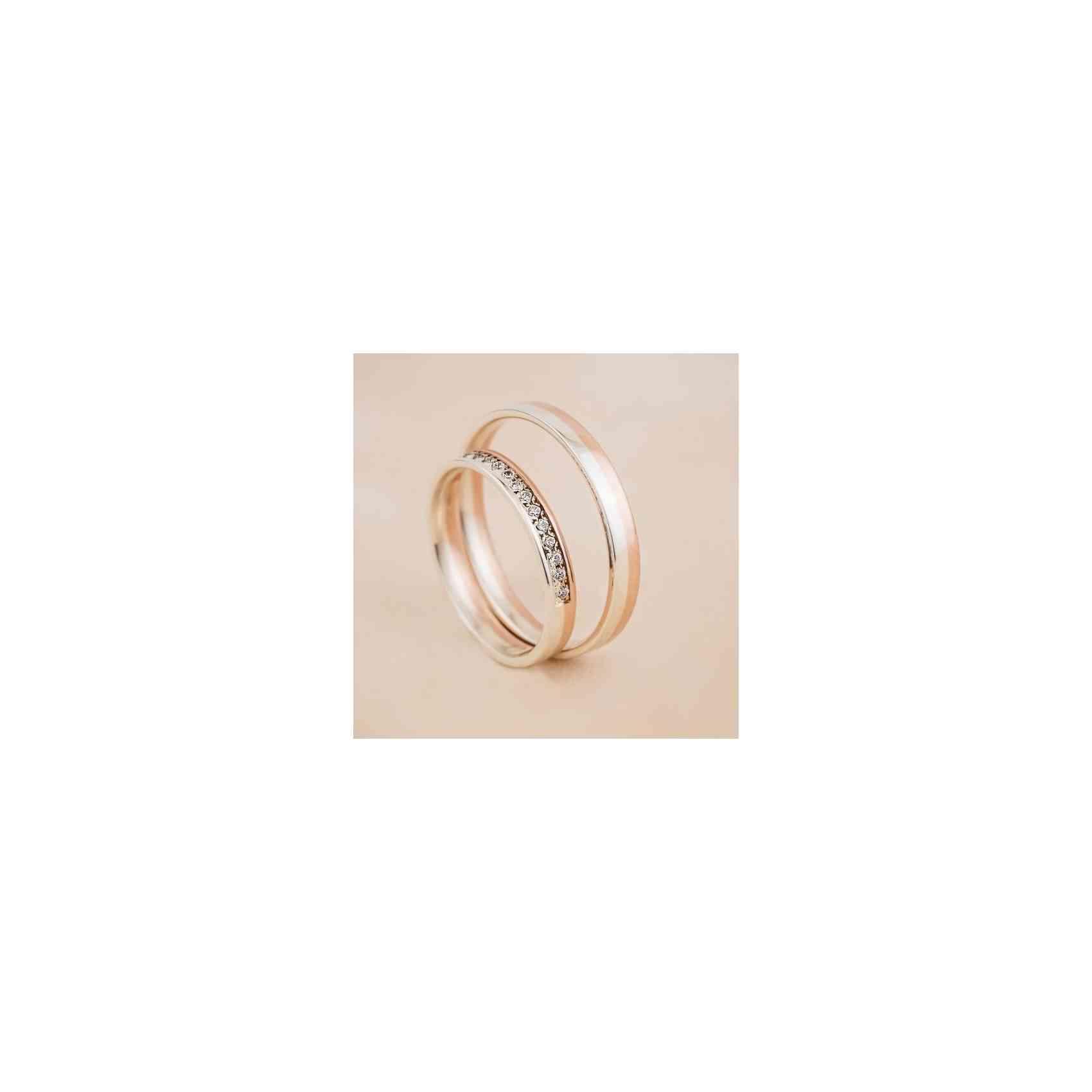 Set Verighete Tamy din Aur Alb și Roz 14K cu Diamante