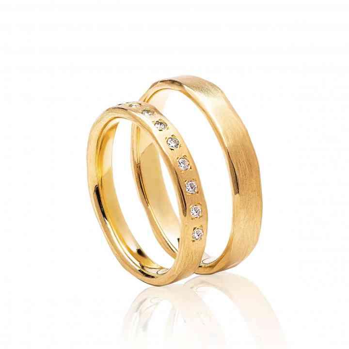 Set Verighete Venezia Duo din Aur Galben 14K cu Diamante