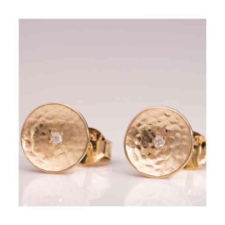 Cercei Disc din Aur 14K cu Diamant