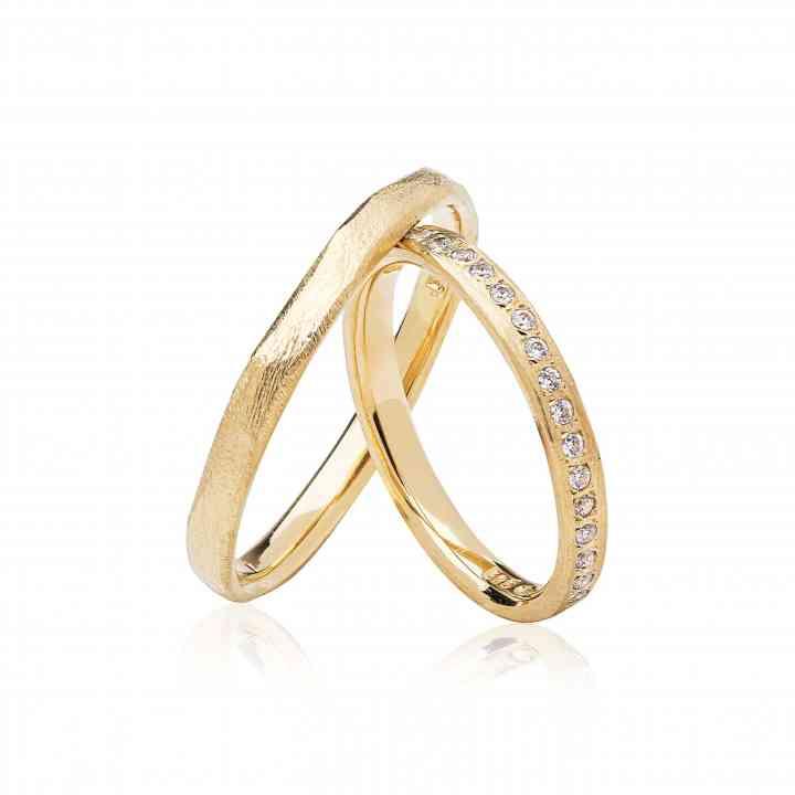 Set Verighete ZIva din Aur Galben 14K cu Diamante
