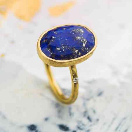 Inel din Aur Galben 14K cu Lapis Lazuli si Diamant