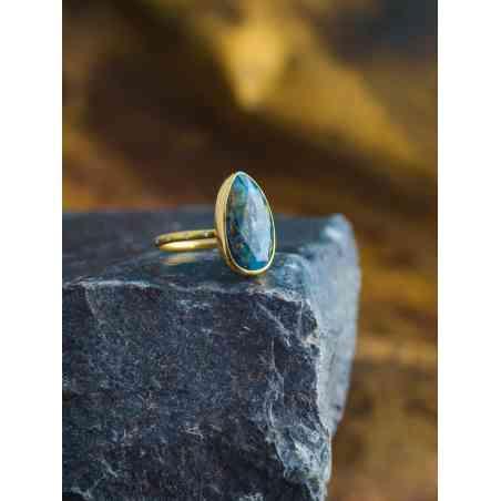 Inel din Aur Galben 18K cu Kianit si Diamante