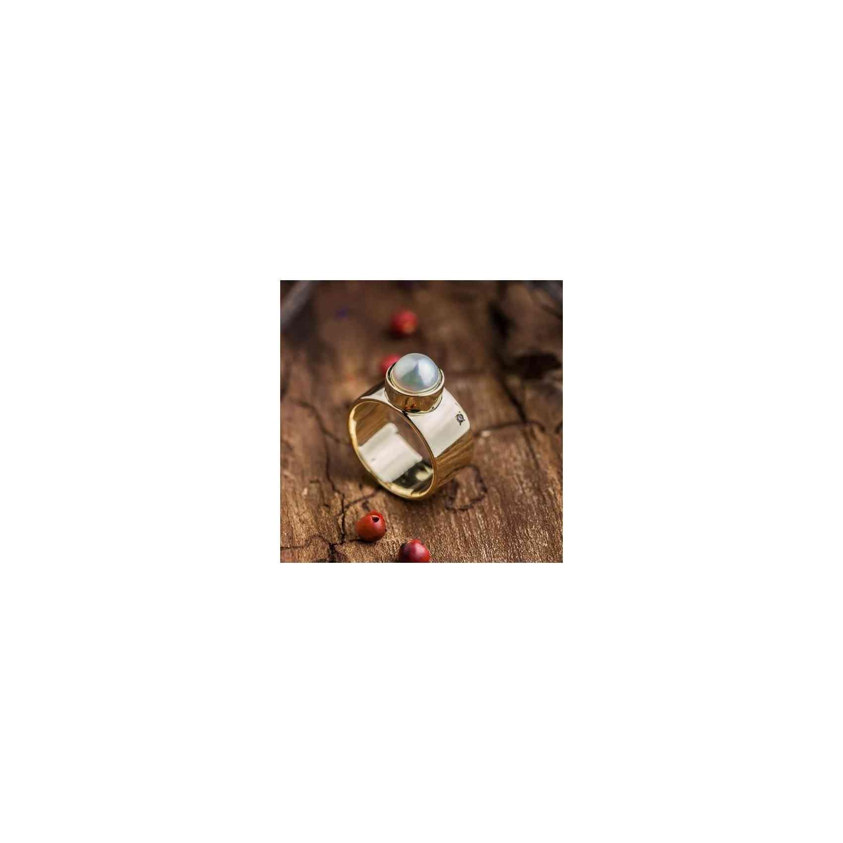 Inel din Aur Galben 14K cu Perlă și Diamant