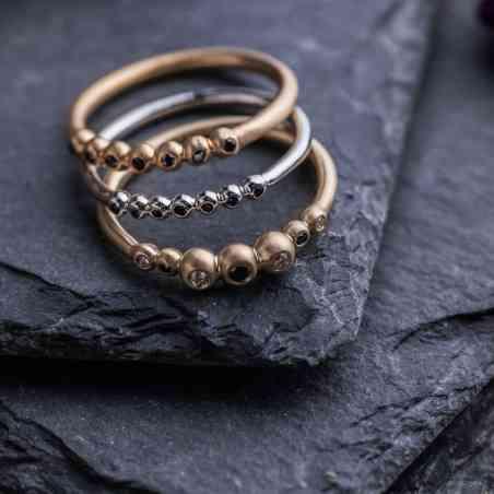 Inel din Aur Galben 14K cu Diamante Negre