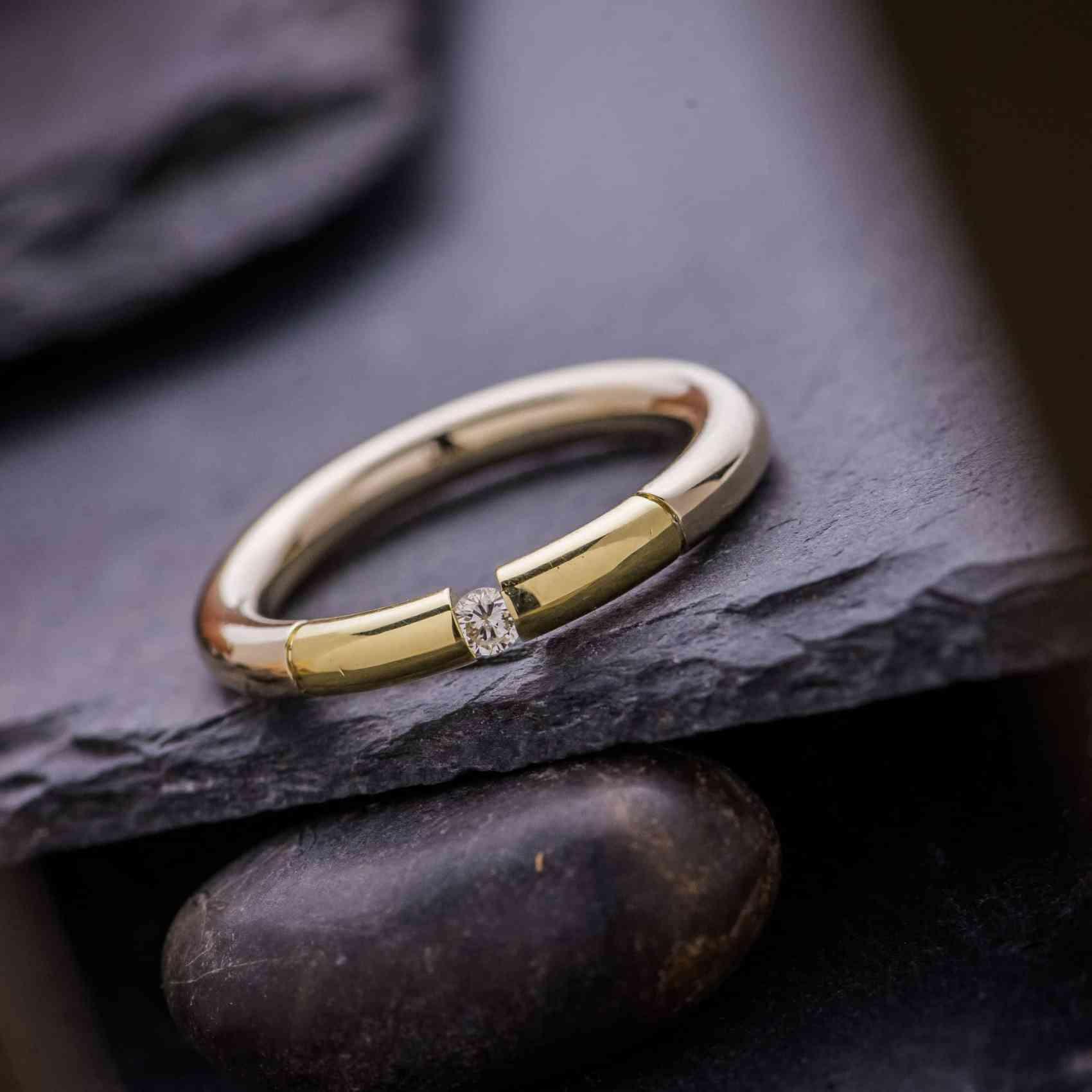 Inel din Aur Alb si Galben 18K cu Diamant