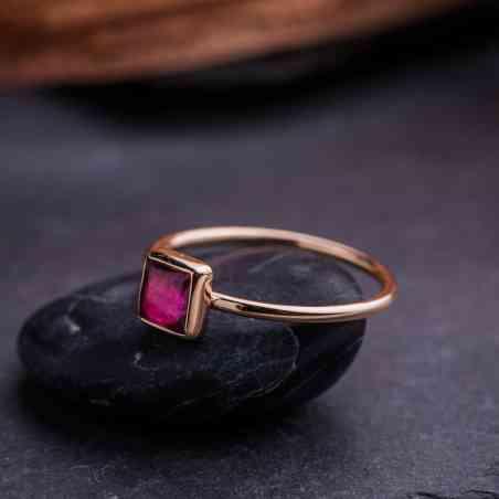 Inel din Aur Roz 14K cu Turmalină