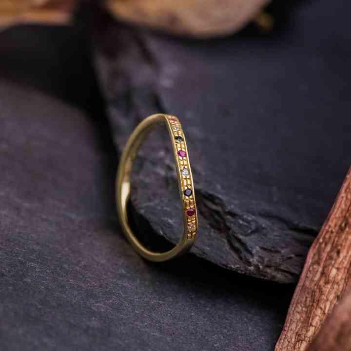 Inel Aur Galben 14K cu Diamante si Rubine