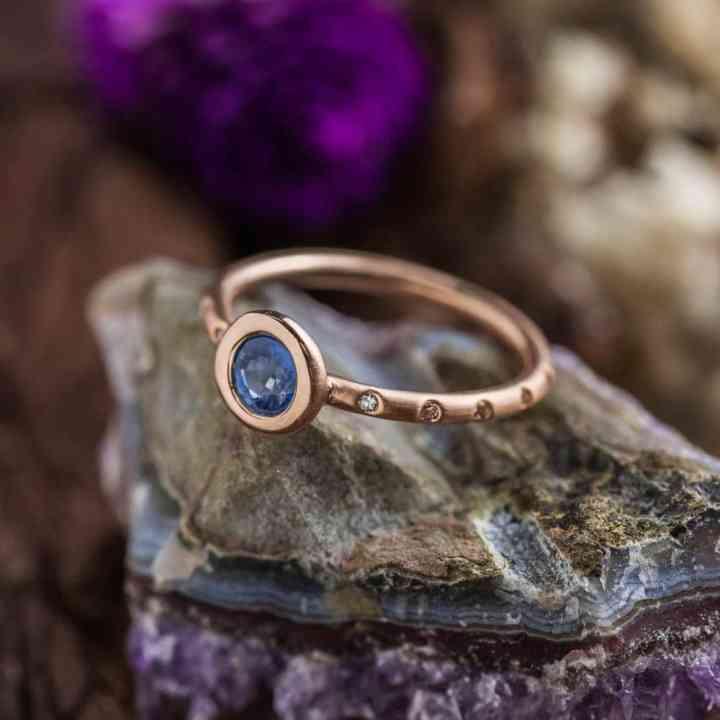 Inel de Logodnă din Aur Roz 14K cu Safir si Diamante