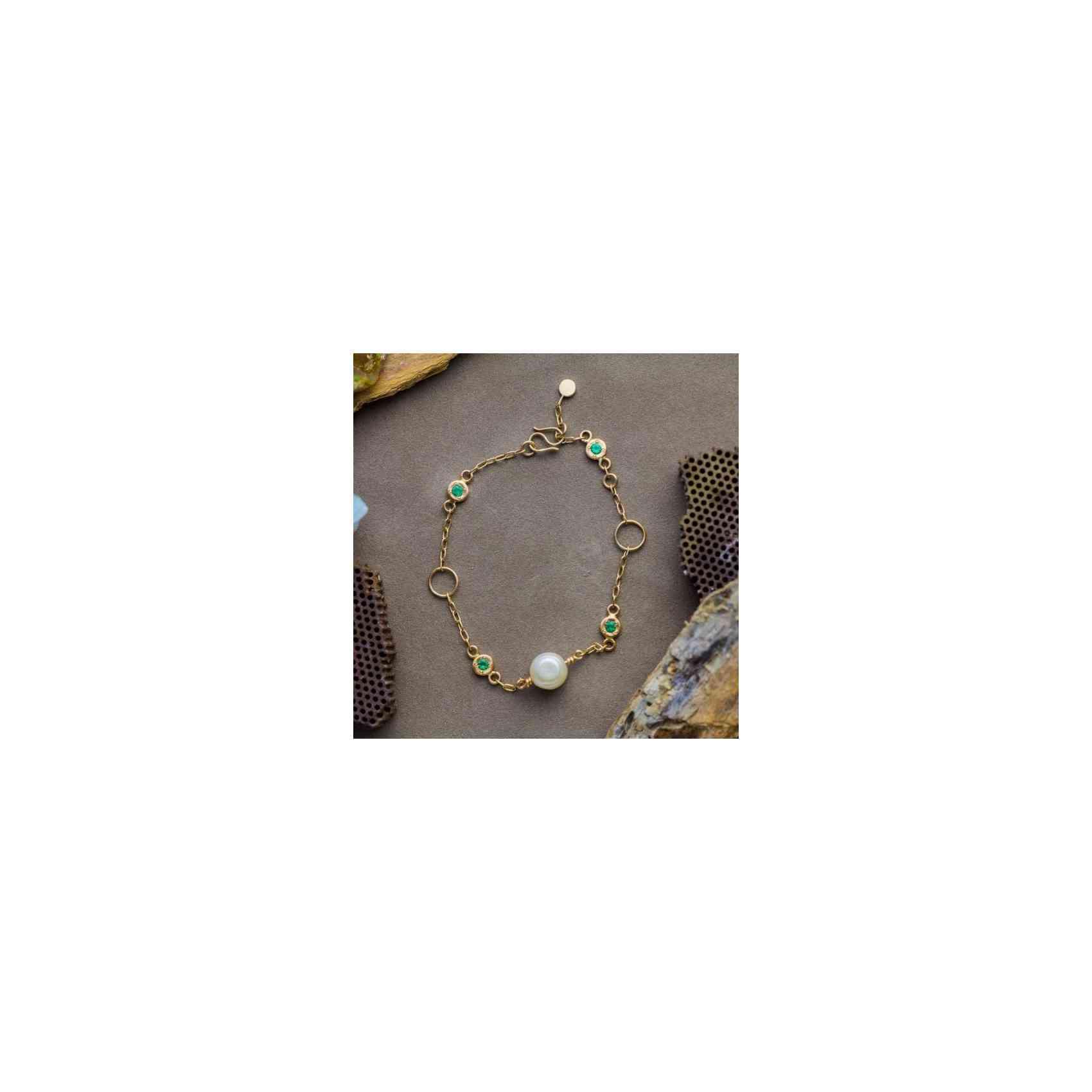 Brățară Aur 14K, Perlă și Smaralde