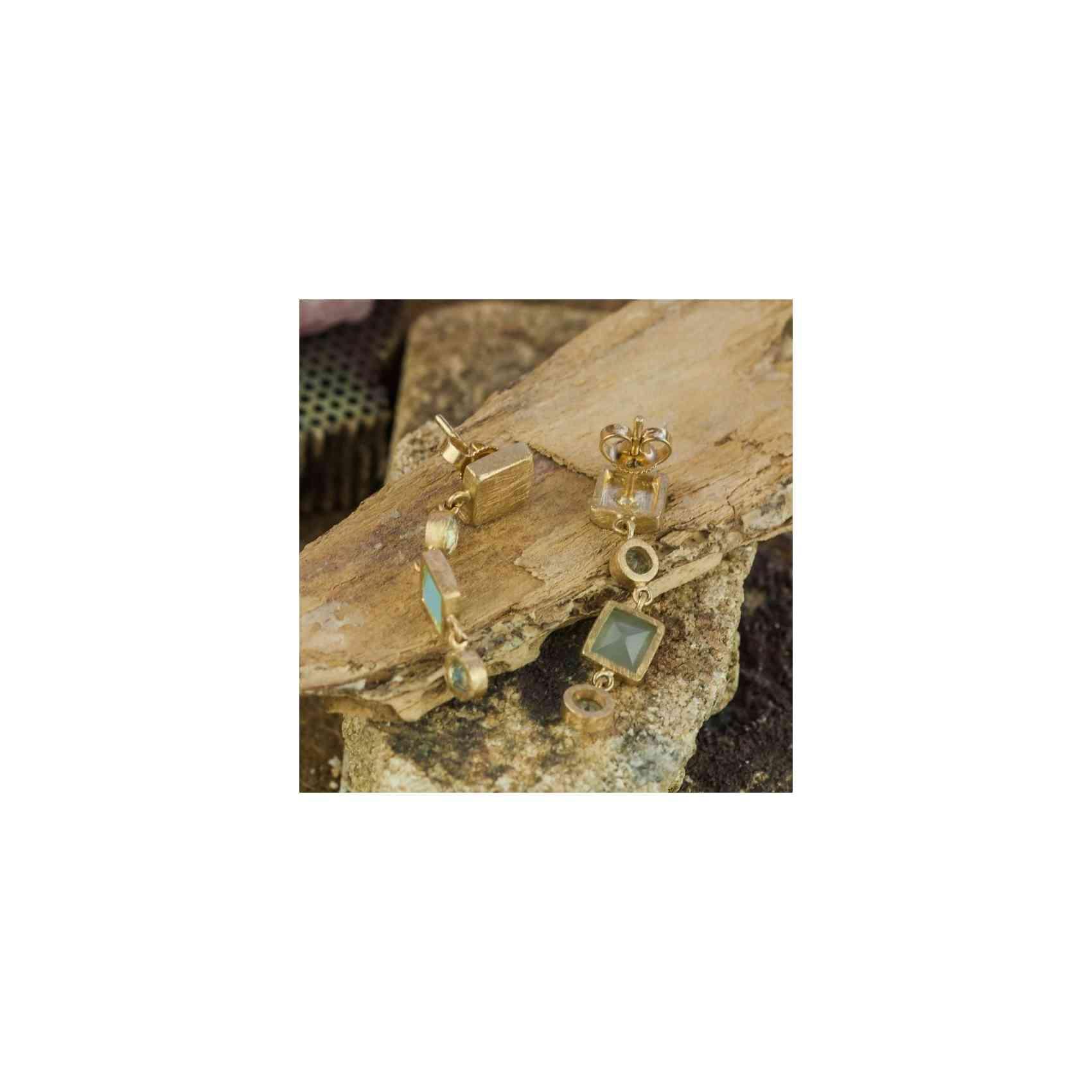Cercei Aur 14K cu Calcedonie și Acvamarin