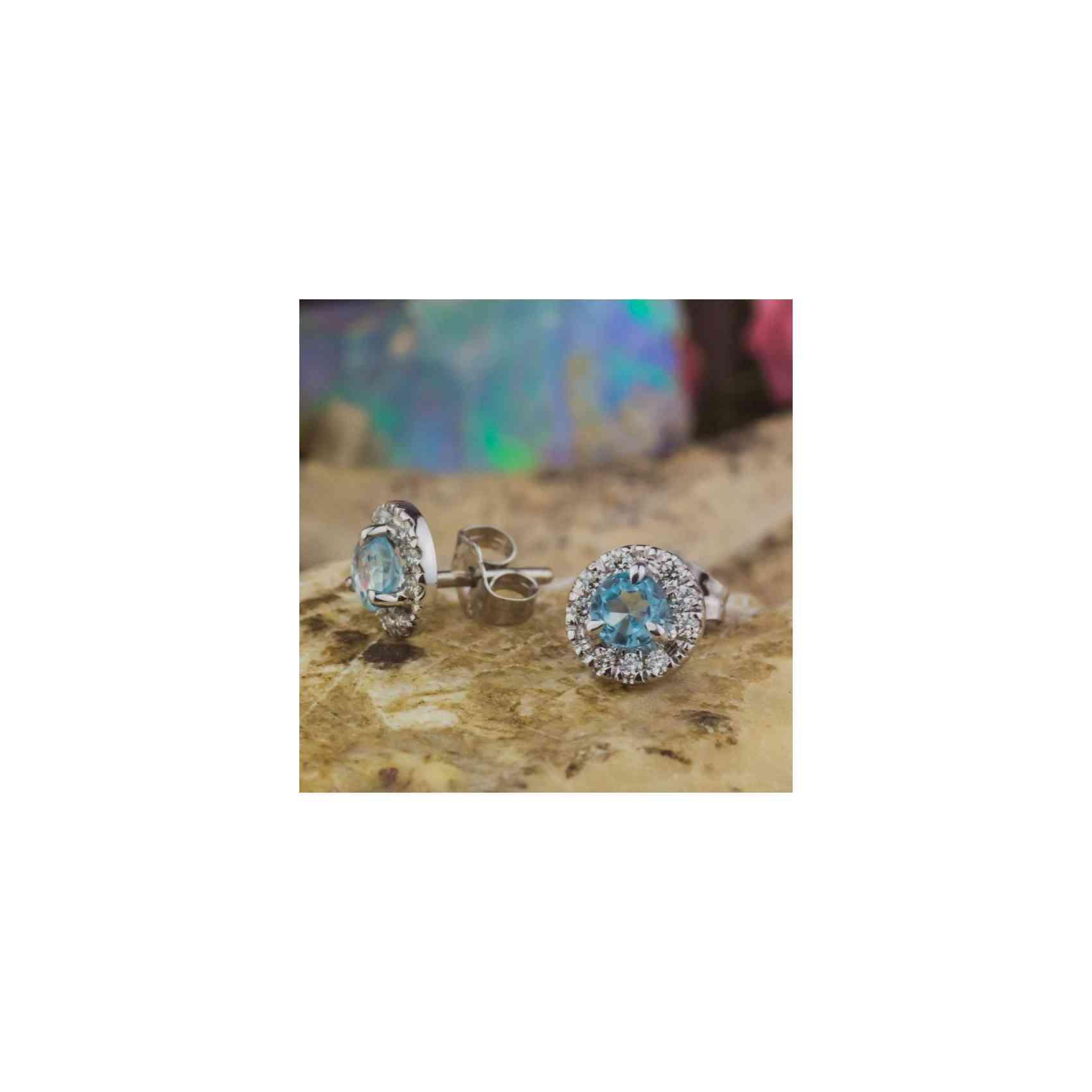 Cercei Aur Alb 14K, Acvamarin și Diamante