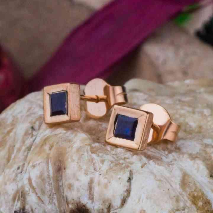 Cercei Aur Roz 14K și Safir