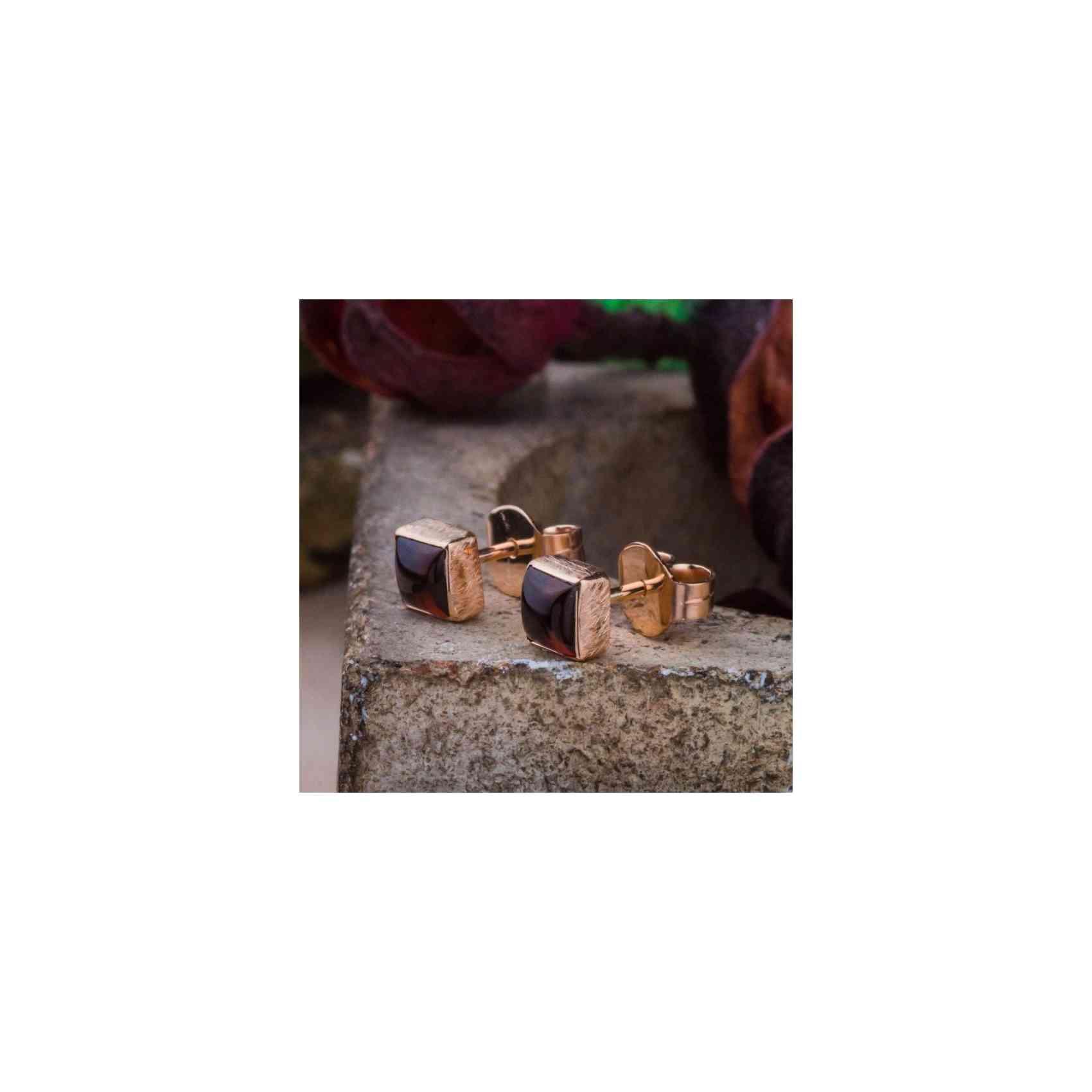 Cercei Aur Roz 14K și Granată