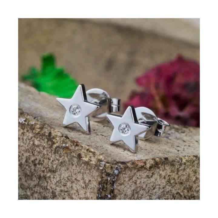 Cercei Star din Aur Alb 14K și Diamante