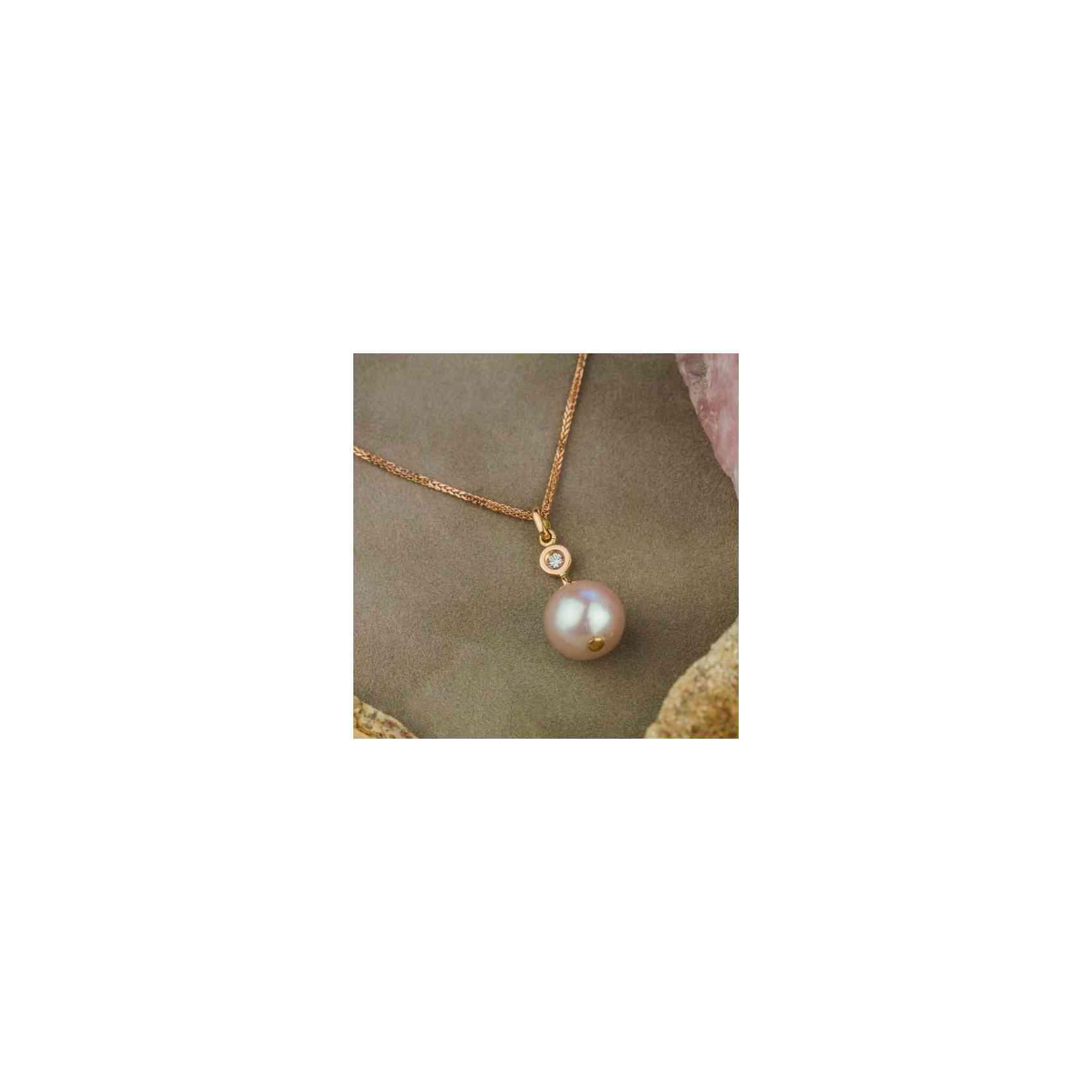 Colier Aur Roz 18K Perlă Roz și Diamante