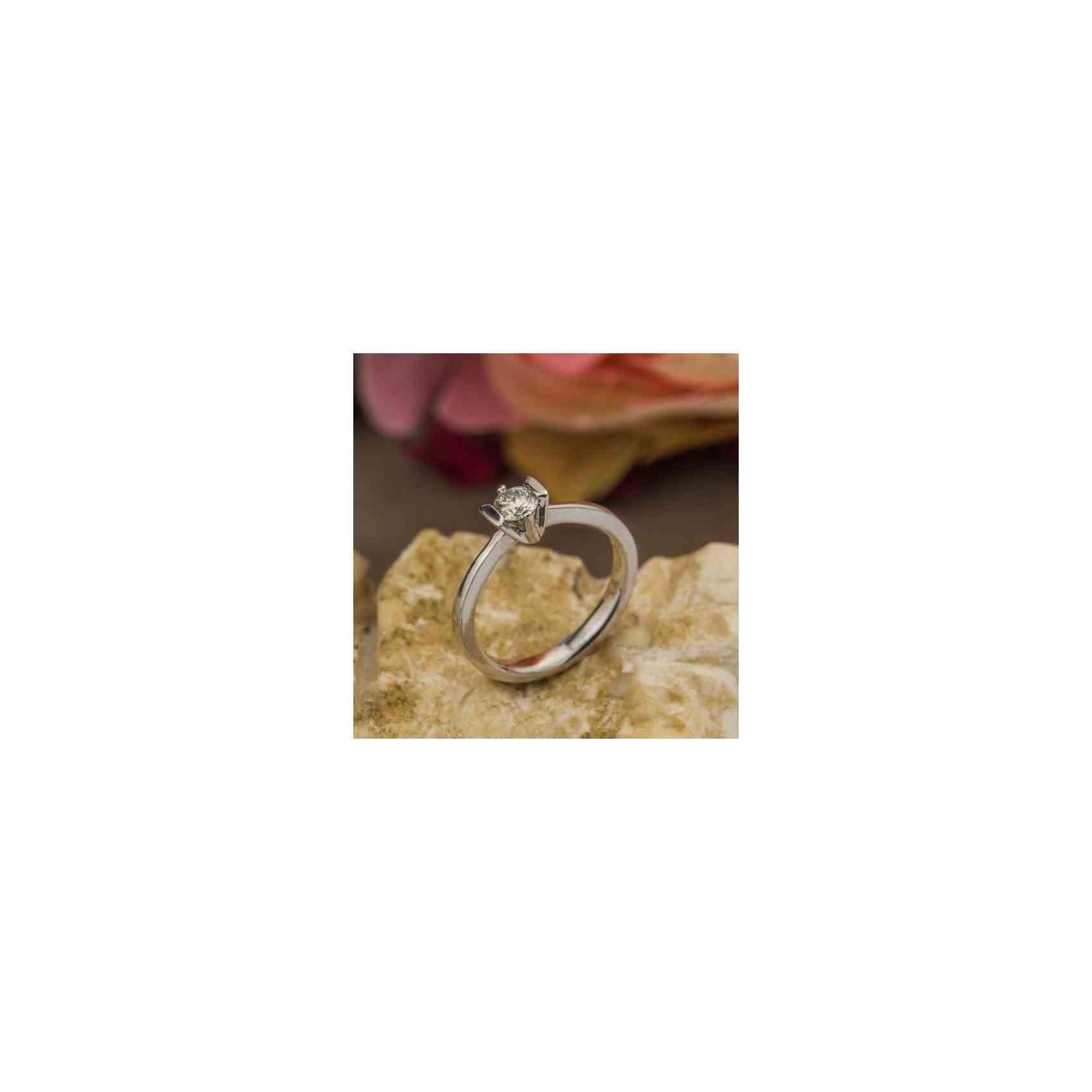 Inel Logodnă din Aur Alb 18K Diamant Alb