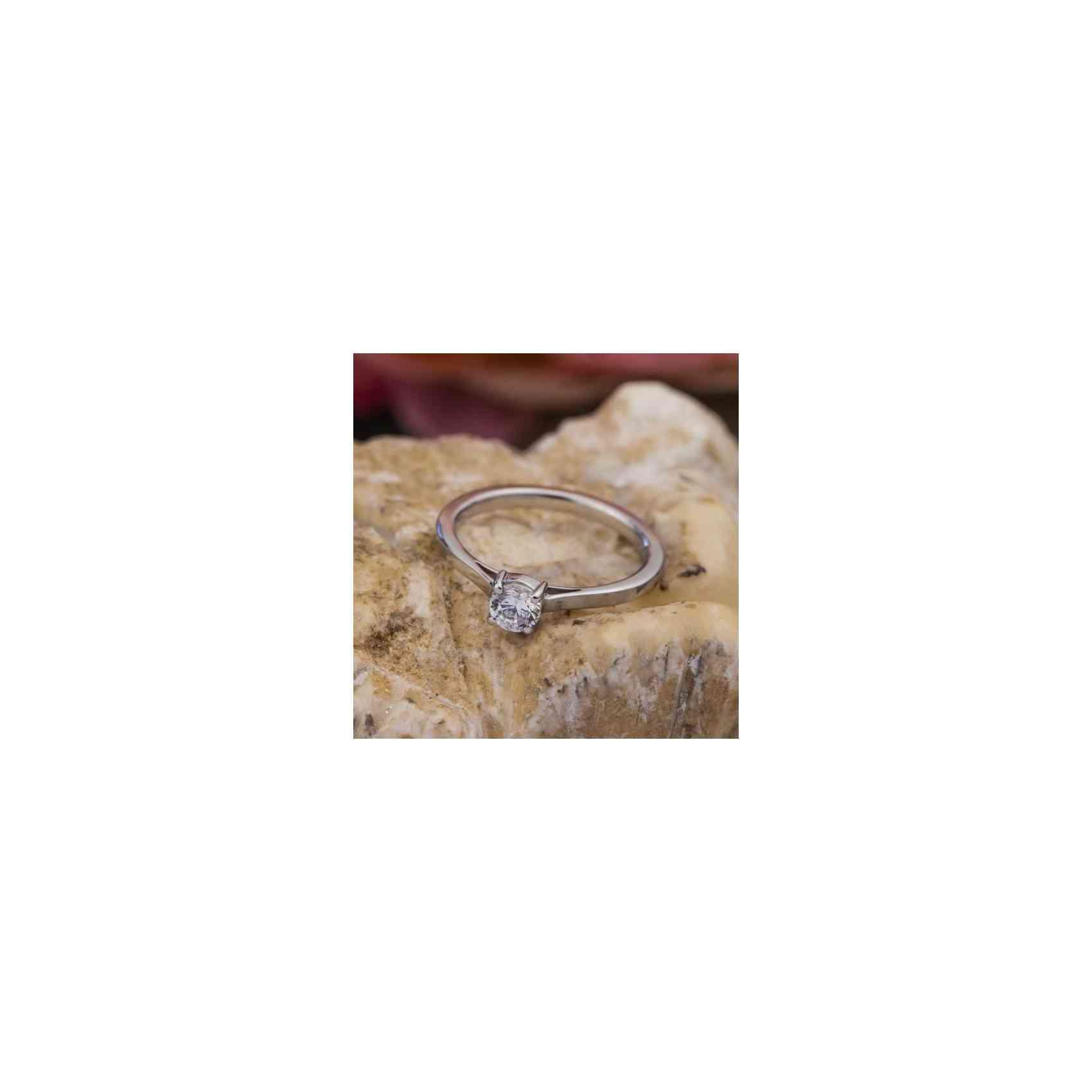 Inel Logodnă Aur Alb 18K cu Diamant Alb
