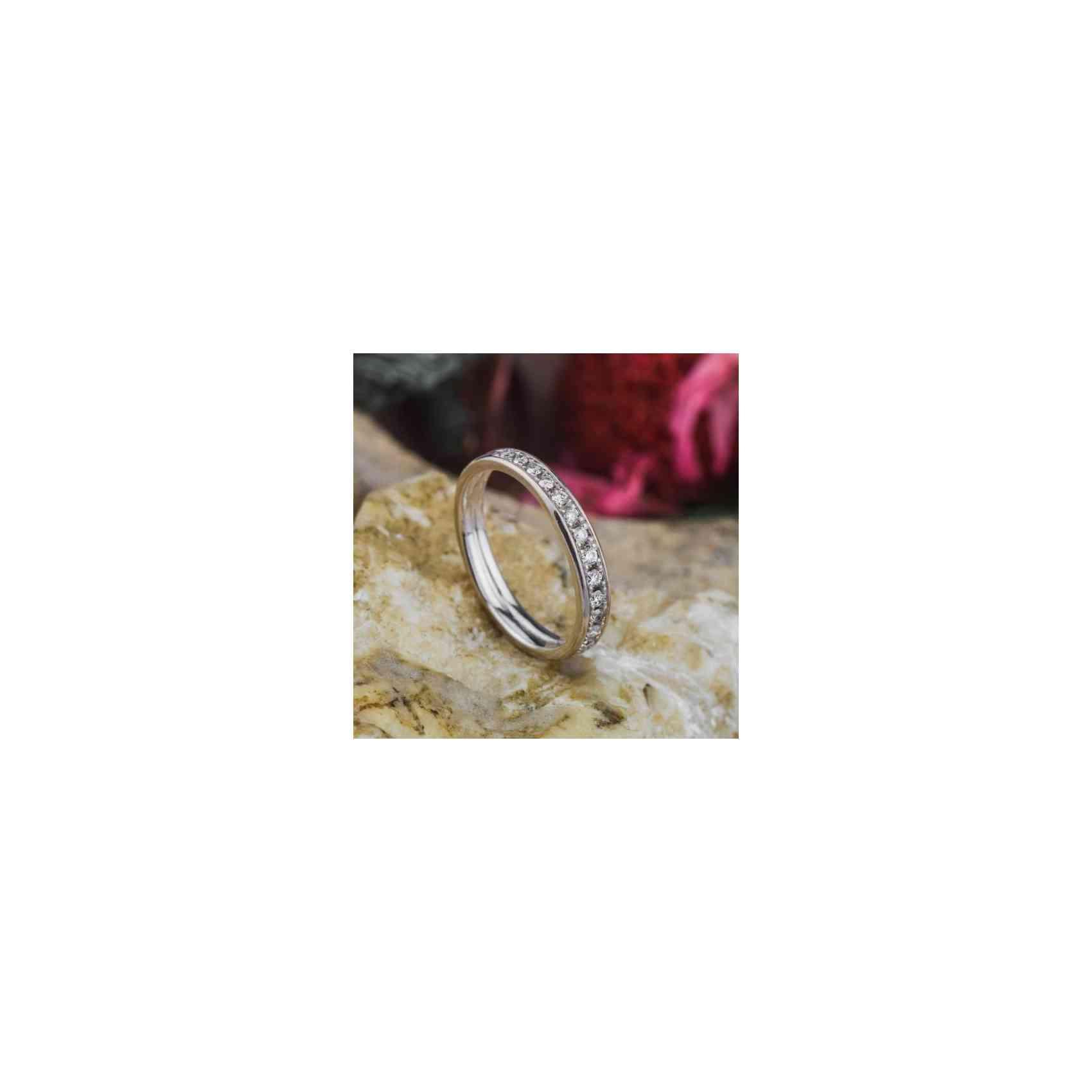 Inel Logodnă Channel Aur Alb 18K cu Diamant Alb