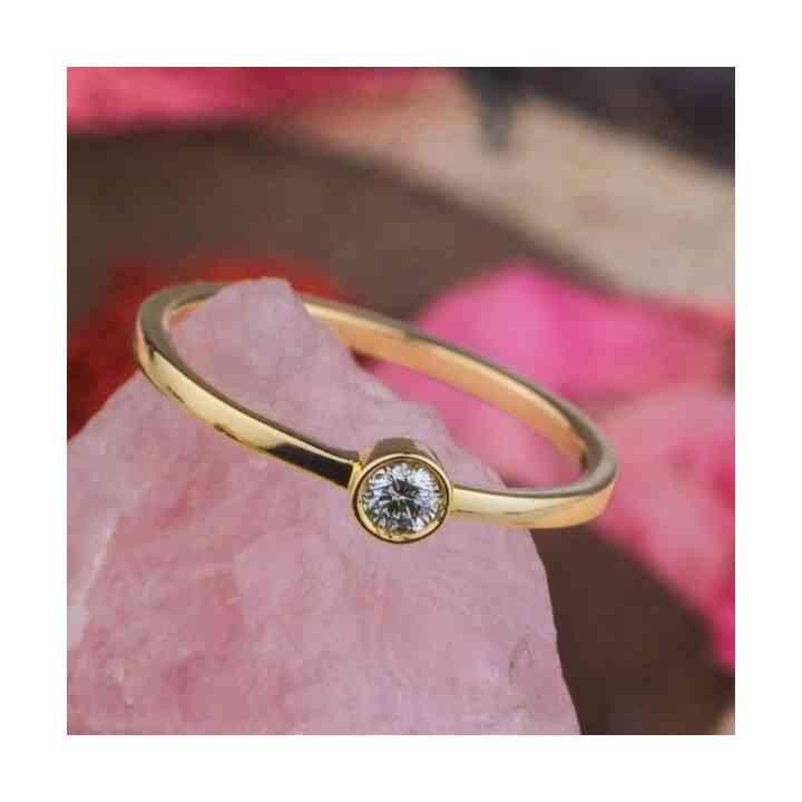 Inel Logodnă Aur 14K cu Diamant