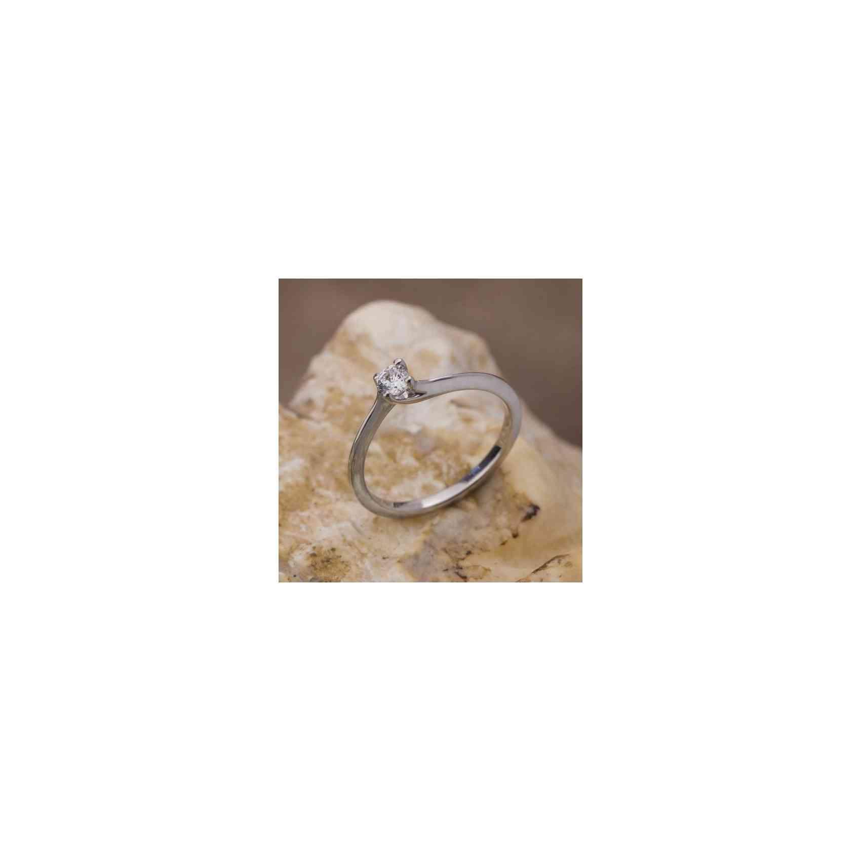 Inel Logodnă Aur Alb 14K cu Diamant