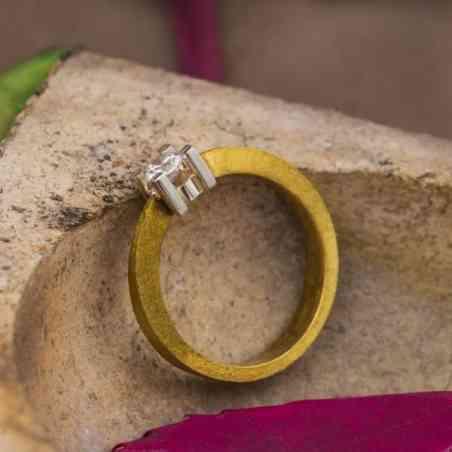 Inel Logodnă amestec Aur Alb și Aur 18K cu Diamant