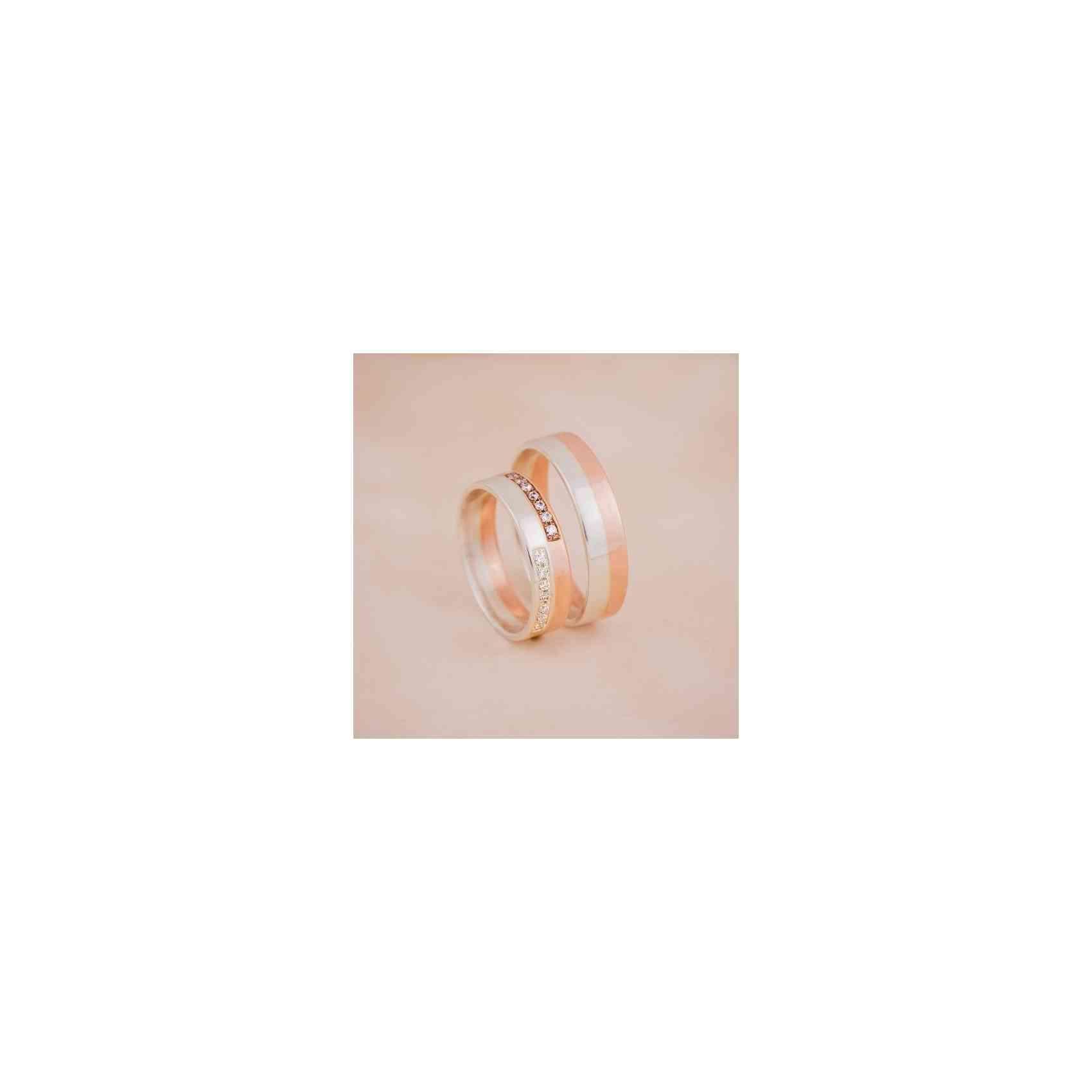 Set Verighete Aliona din Aur Alb și Roz 14K cu Diamante