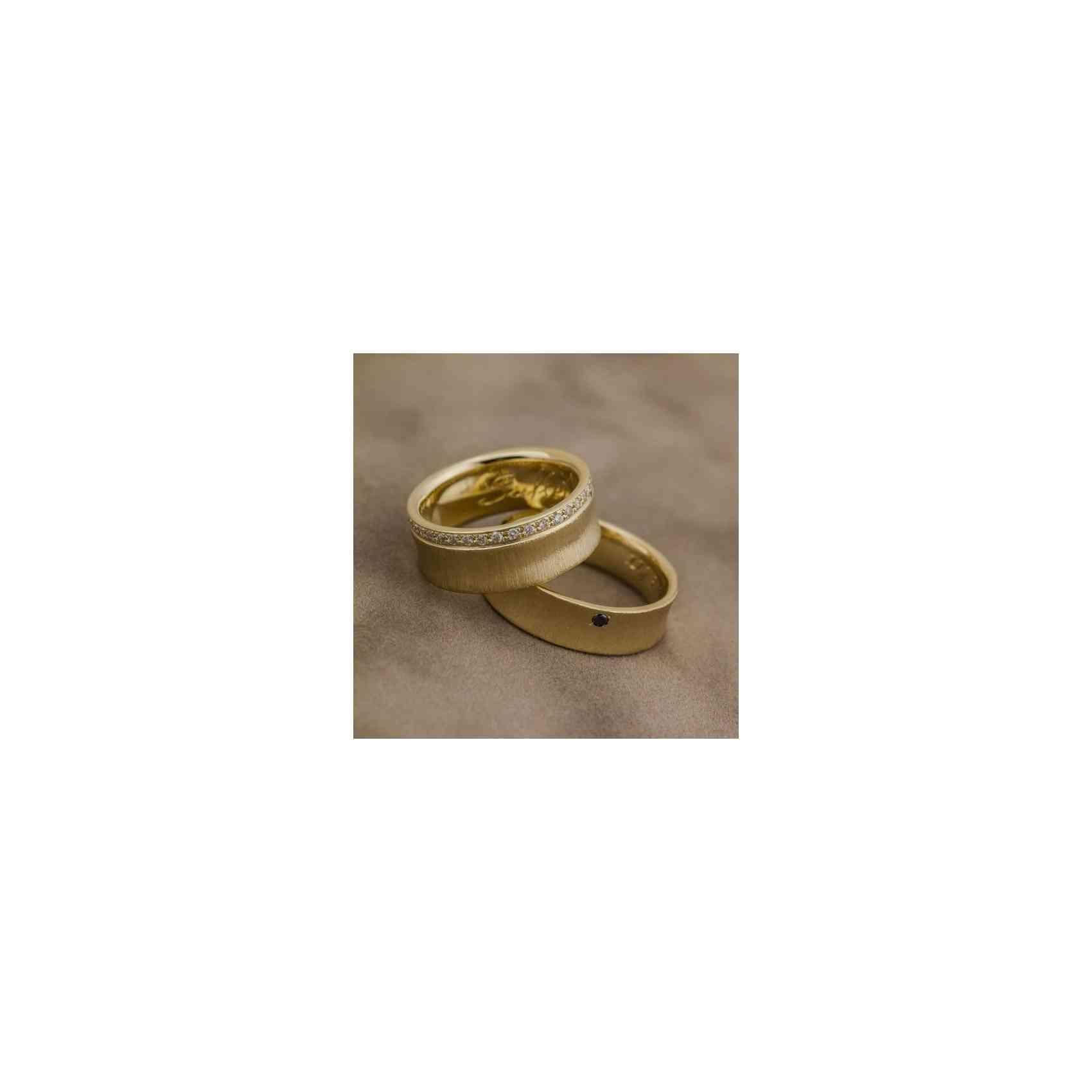 Set Verighete Arcana din Aur 14k cu Diamante & Diamant Negru