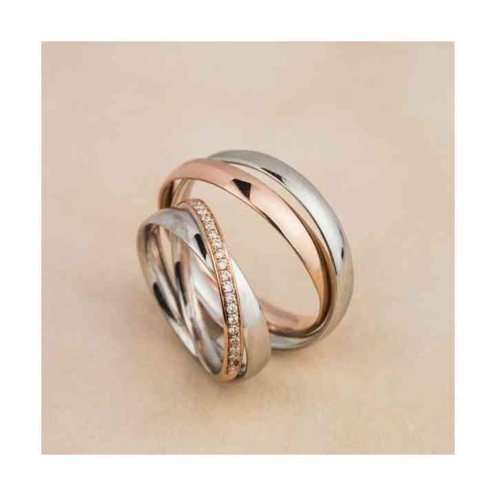 Set Verighete Aur Alb 18k, Aur Roz și Diamante