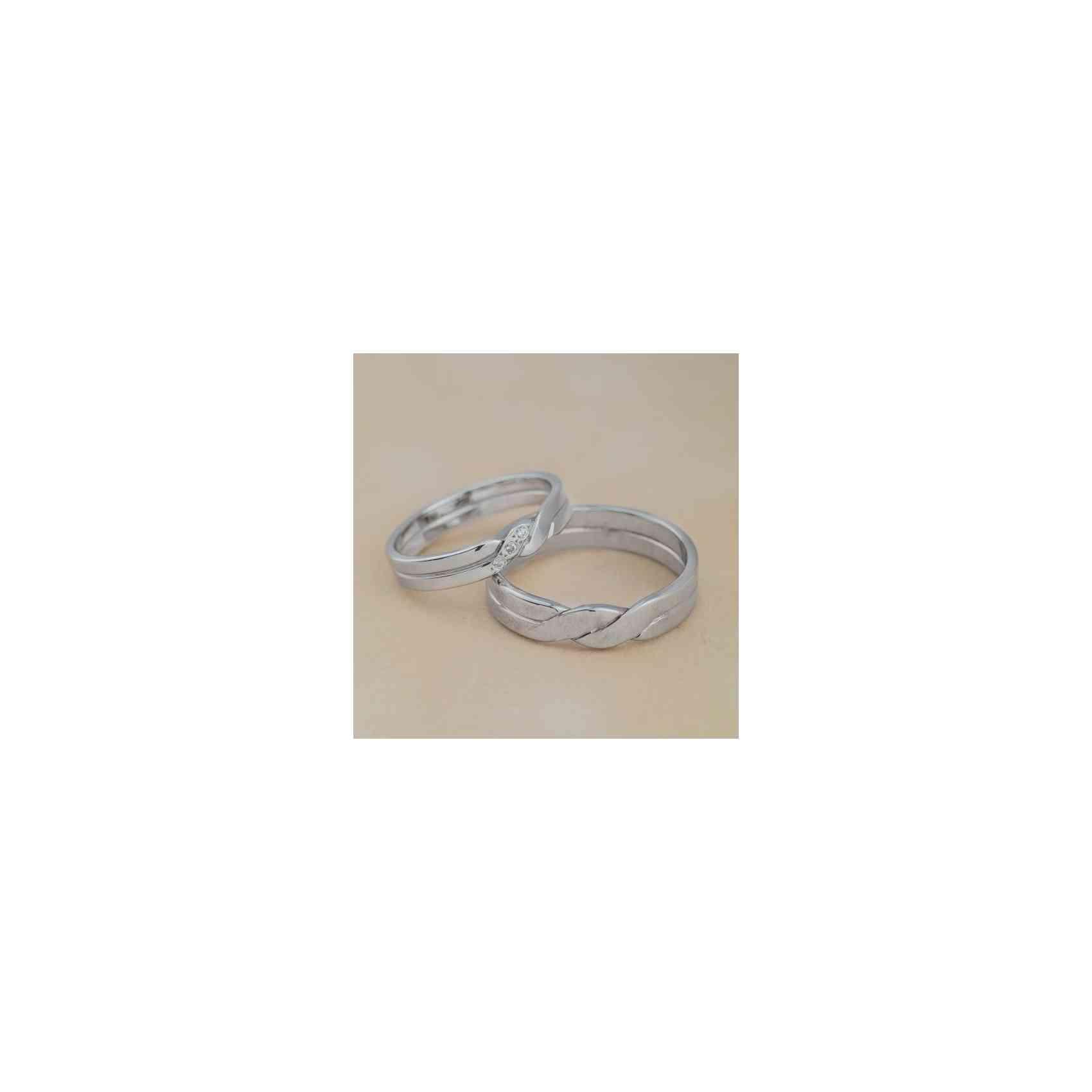 Set Verighete Daria Aur Alb 14K cu Diamante