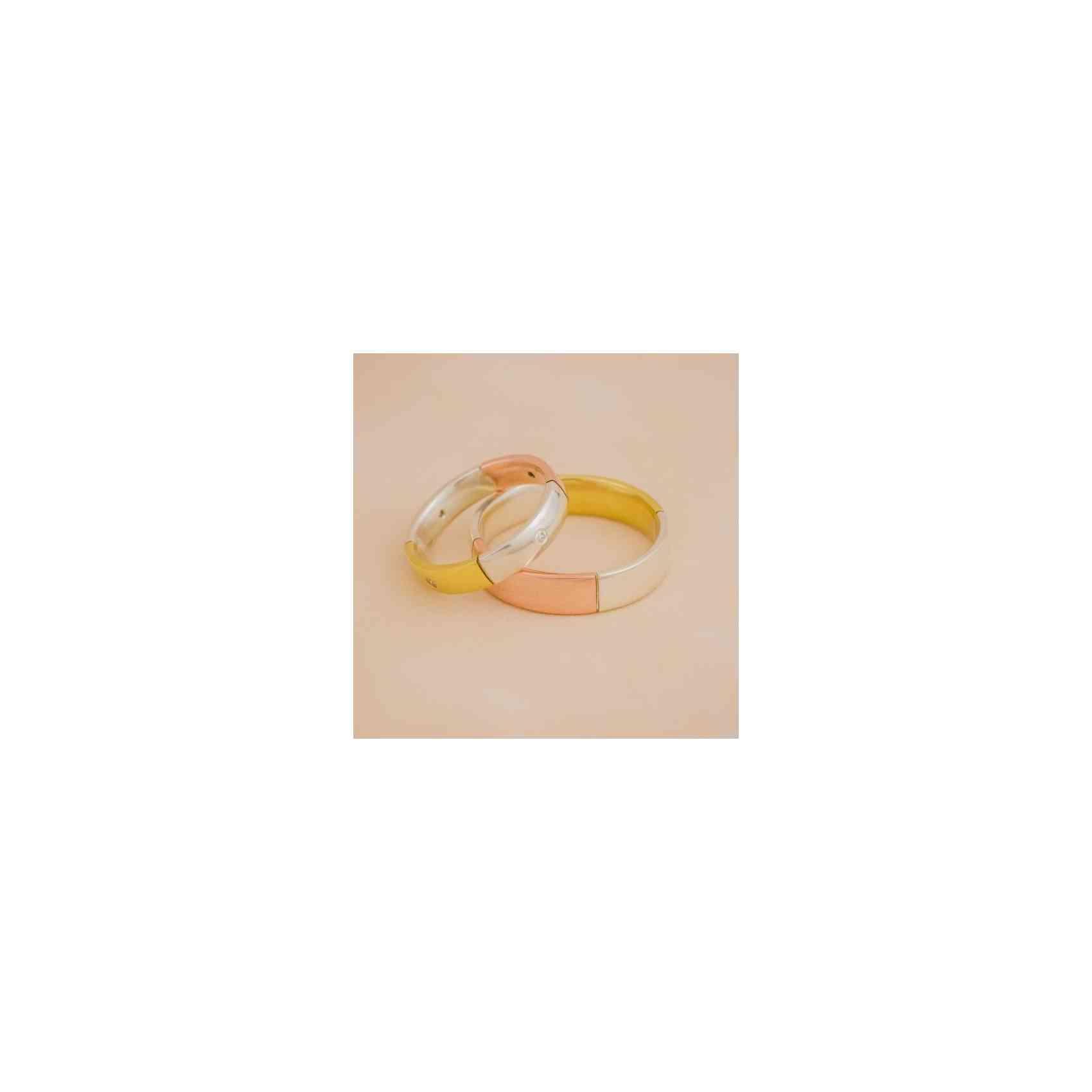 Set Verighete Domino din Aur Alb și Roz 14K cu Diamante