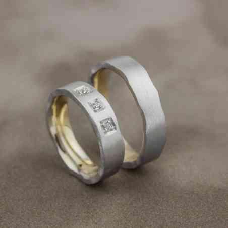 Set Verighete Neta Șigal din Aur Alb 14K cu Diamante
