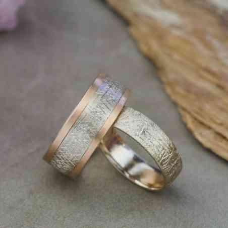 Set Verighete Artizanale din Aur Roz și Aur Alb 14K