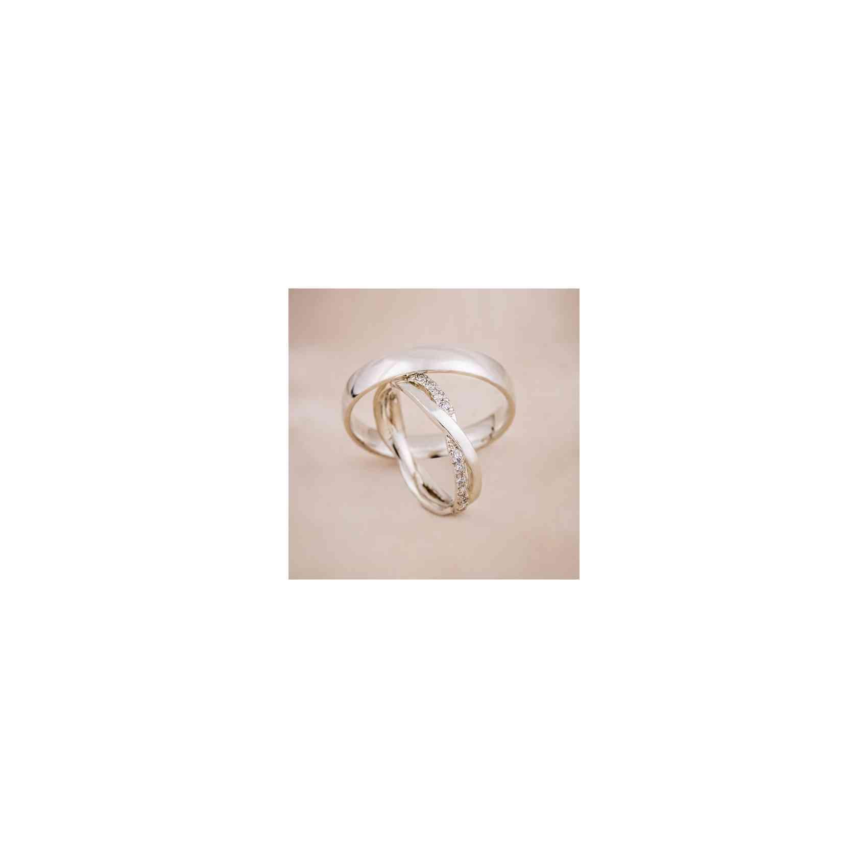 Set Verighete Infinity Aur Alb 14K cu Diamante