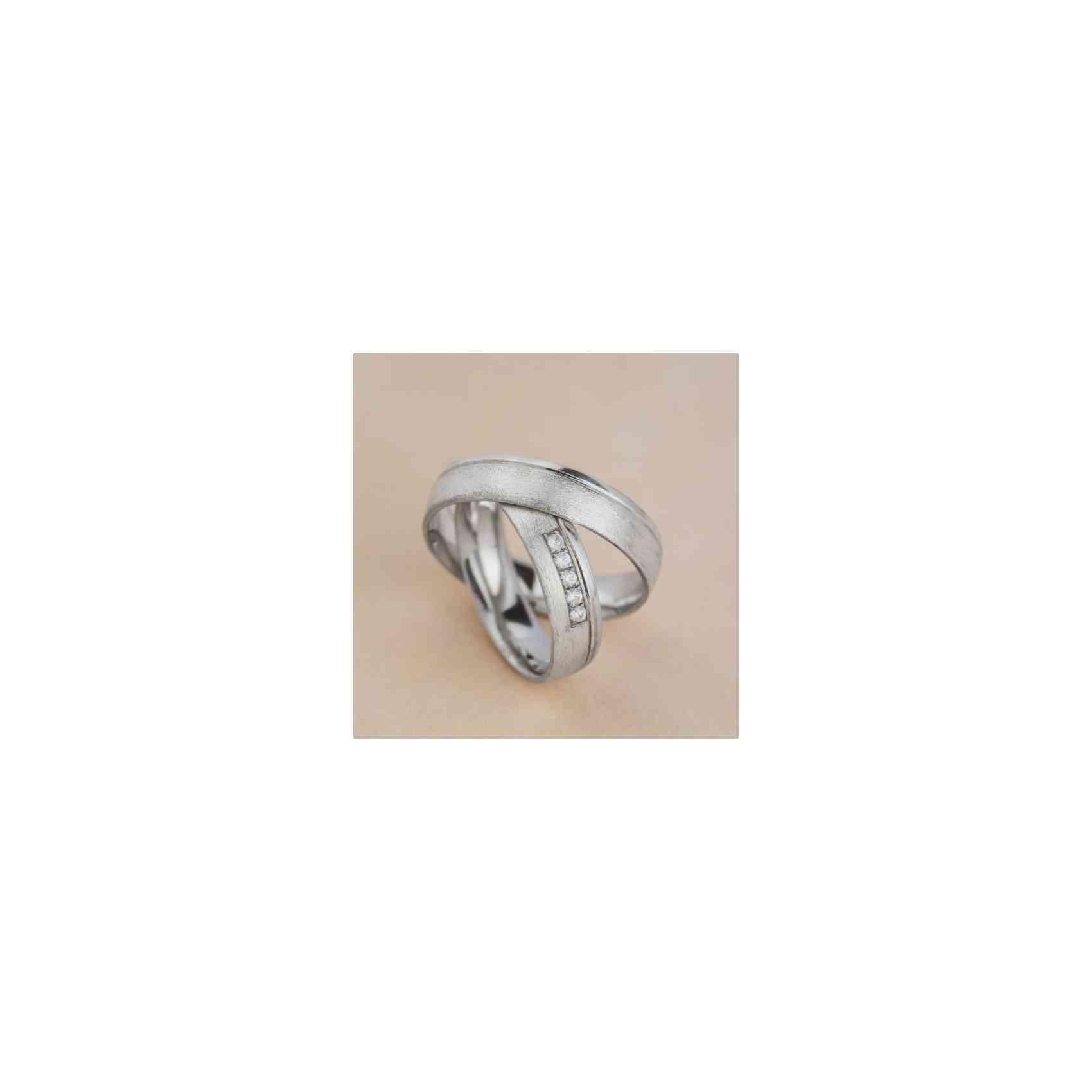 Set Verighete Lior din Aur Alb 14K cu Diamante