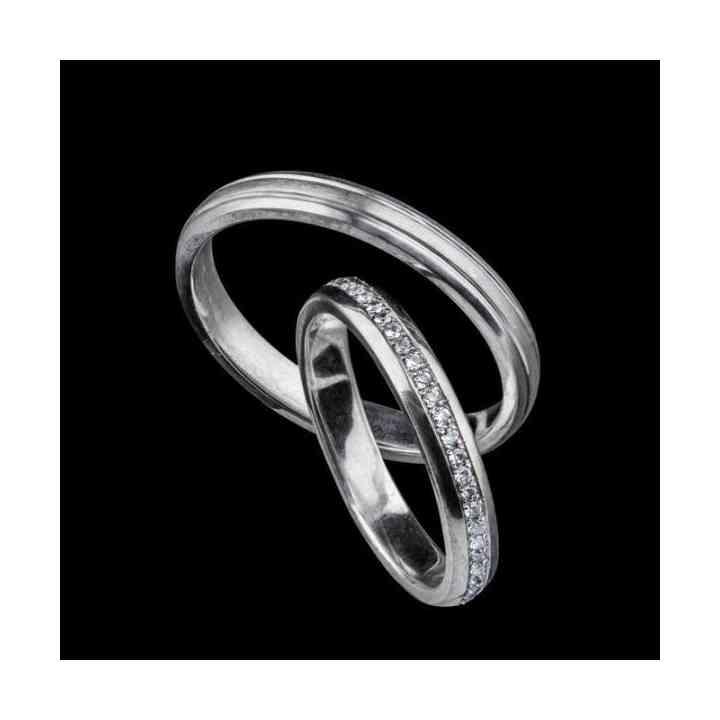 Set Verighete din Aur Alb 18k cu Diamante