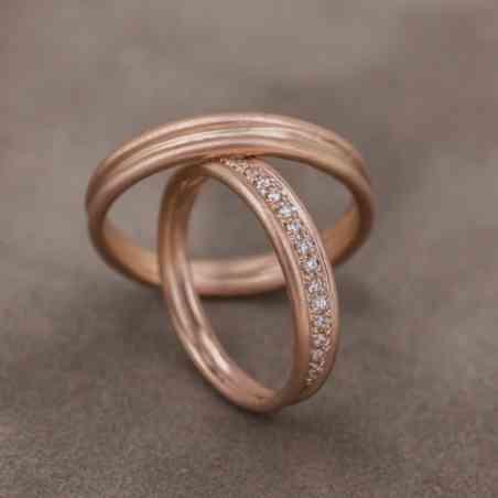 Set Verighete Mihaela One din Aur Roz 14K și Diamante