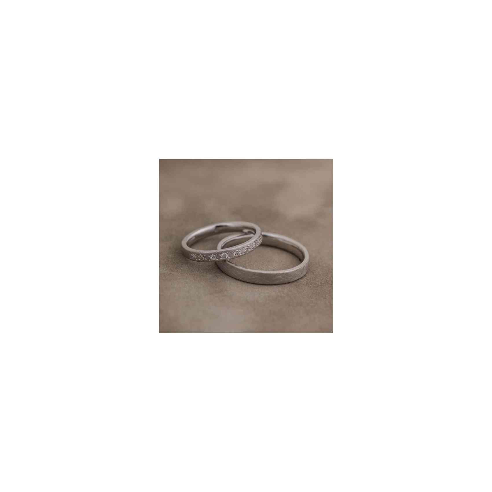 Set Verighete Patima din Aur Alb 14k cu Diamante