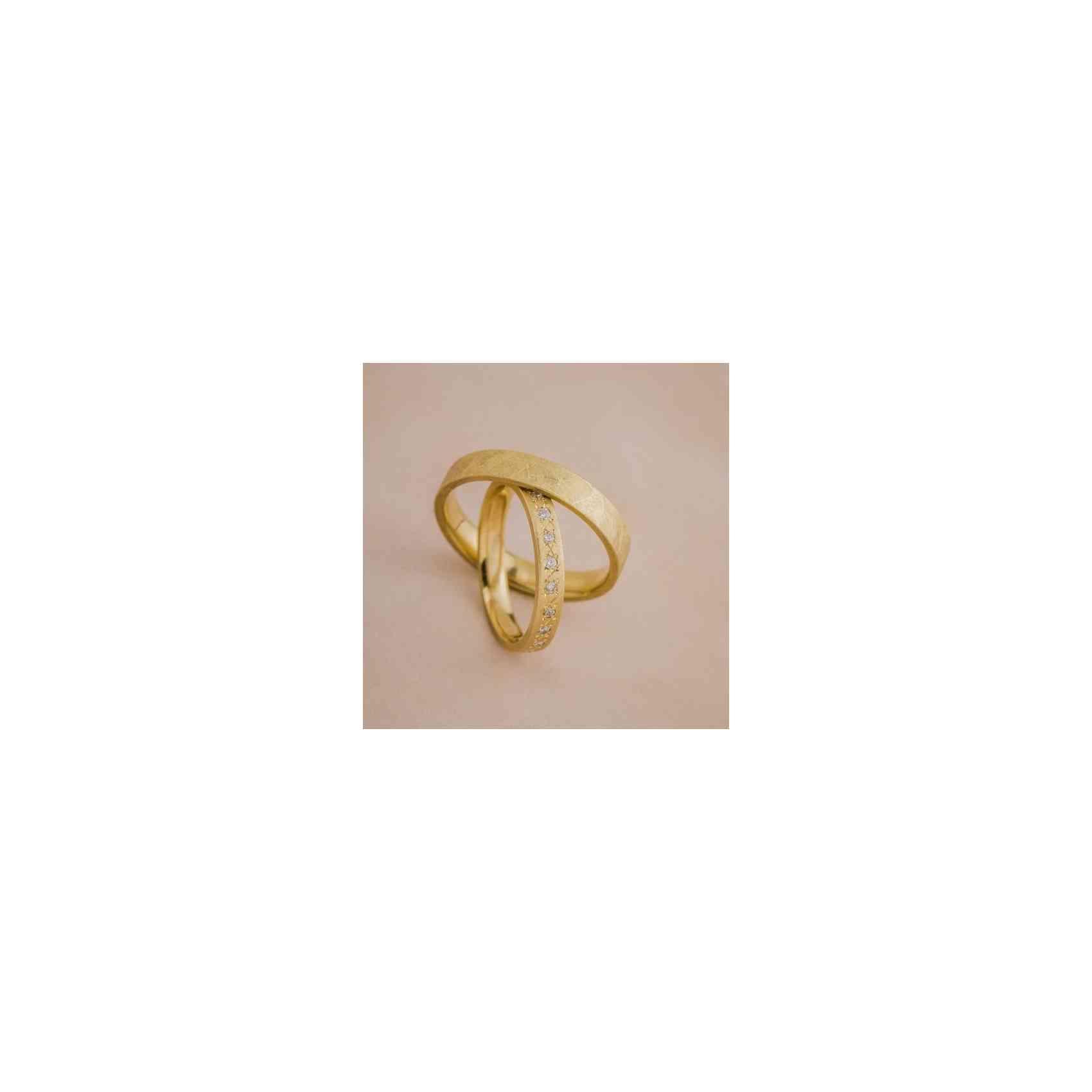 Set Verighete Wide din Aur 14k și Diamante