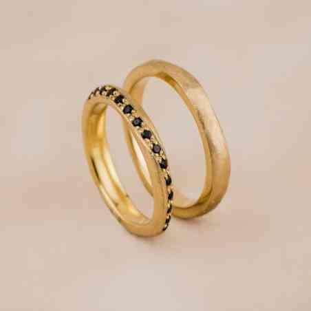 Set Verighete Rina din Aur 14K cu Diamante Negre