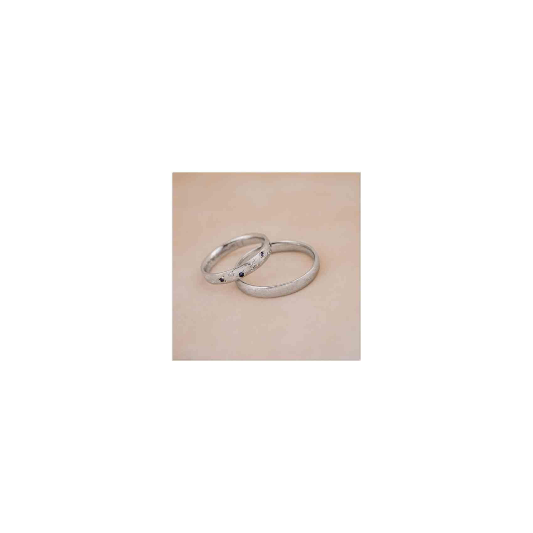 Set Verighete Sappho Wide din Aur Alb 14K cu Diamante și Safire