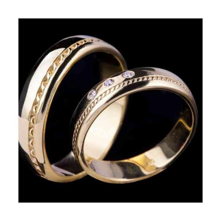 Set Verighete Shira din Aur 14k cu Diamante