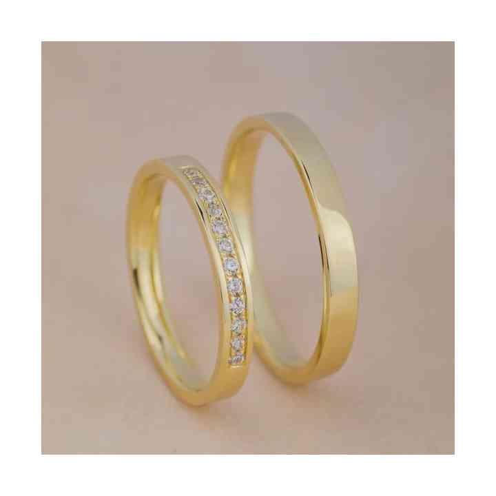 Set Verighete Suria Aur 14K și Diamante