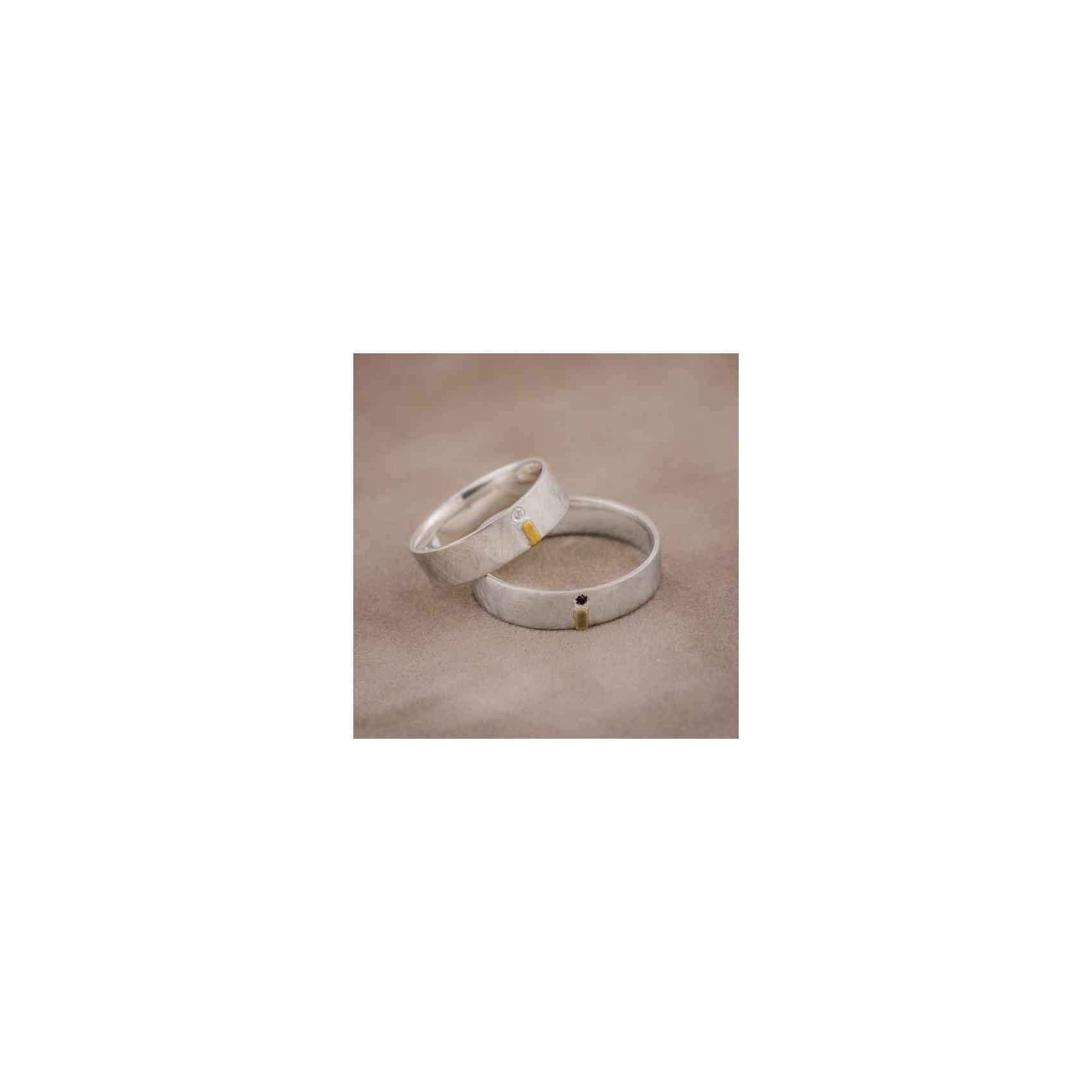 Set Verighete Teff din Aur 14K cu Diamante