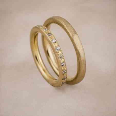 Set Verighete Tina din Aur 14K cu Diamante