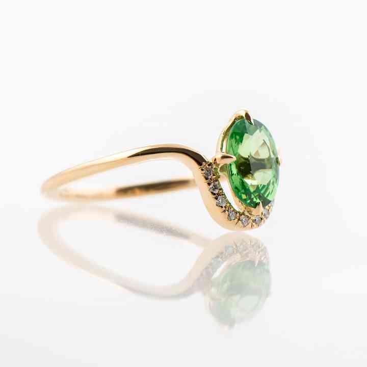 Inel din aur galben 14K cu Tsavorit și Diamante
